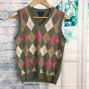 Brooks Brothers Fine Merino Wool Pink Argyle vest